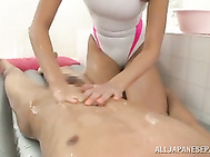 Arousing Japanese hottie in naughty suit enjoys giving dirty massage along with deep blowjob Asian hard core session.