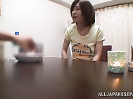 Hot milf girl Kaho Kasumi cock sucking action and cumshot.