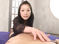 Facial ends babe´s filthy Asian POV blowjob show.