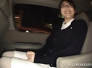 Sweet babe Miku Sunohara gets seduced in the car.