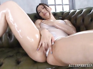 Luscious Japanese milf Sayuki Kanno shows off in front of a cam demonstrating her awesome body with tight bubble ass and amazing big jugs.