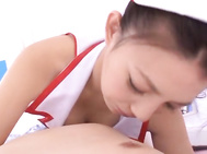 Big Breasted teen Maki Oda gives a handjob in her Nurse outfit - Japanese Cosplay.