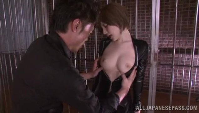 Hot milf in leather costume Yuria Satomi gets wild when having horny stud playing with her hairy pussy, getting very horny and eager to ride and feel his long dick pounding inside her vag and making her to scream of intense pelasure.