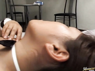 Her big tits bounce as he drills her snatch and shoots streams of cum all over her pretty face.