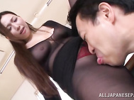 Hot MILF Sayuki Kanno is all about kinky sex and she is always ready to start it anywhere! Watch her this time making a gentle cock sucking in transparent lingerie.