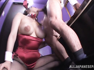 This time she teases this hunk with her big natural tits and slowly kneels in order to give him a warm blowjob before having the guy deep into her warm and juicy cunt.