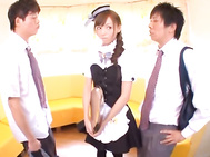 Naughty Maid Aino Kishi Gets A Facial In A Threesome - Japanese Cosplay.