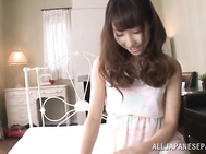Petite AV model Shunka Ayami gives a perfect hand work with oil - Japanese Cosplay.