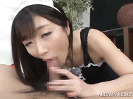 Amazing Japanese AV model looks so sexy in a costume of a maid.