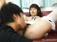 Horny and eager for some intense pleasure, Japanese maid Yurika Miyaji lets horny master to play with her hairy pussy and enjoys sliding that massive vibrator over her wet clit, making her to moan and tremble with pleasure.