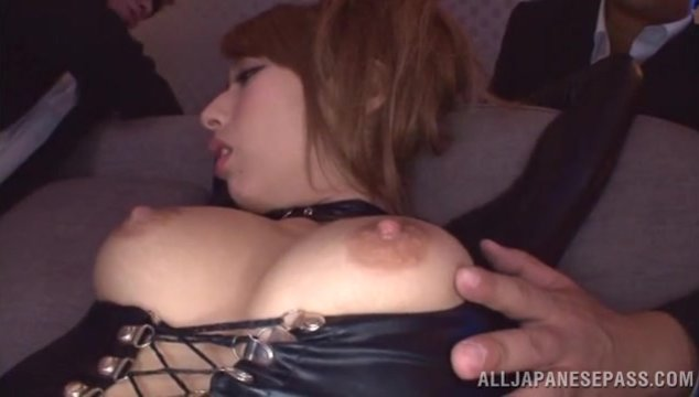 Japanese milf Riho Hasegawa loves being masturbated with hard toy before having her legs spread and that hairy cunt pounded in nasty threesome session.