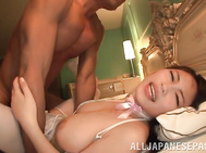 Her boss gets her to strip and he enjoys her big tits while getting her primed up with a dildo for some pov hand fucking.
