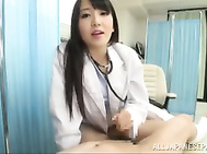 Horny Asian lady nurse Ayaka Tomoda in sexy pantyhose is suddenly aroused and she targets her patient.