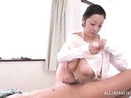 Insolent Nurse from Japan, Minako Komukai, is horny and very delighted to have this guy around her.