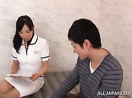 Experienced nurse of Japanese erection recovery clinic treat sexy guy.