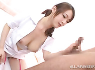 She wears very sexy lingerie and white nylon stockings under her uniform, and she always gets seduced by her horny handsome patients, and she is glad to get her impressive bouncing boobs fucked and her horny pussy plowed.