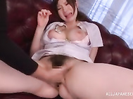 Busty nurse in transparent pantyhose Alice Ozawa gets drilled.