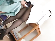 Nurse Rune Tsukishiro In Stockings Fucked With A Vibrator.