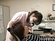 Hot Japanese nurse works as a dentist, and on of her patients gets damn horny in her medical office, and starts to touch her soft sexy legs and stroke her juicy ass.