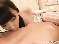 Arousing hottie Nana Usami likes to blow hard and ride likes a true pornstar along hunk who loves feeling her undulating that clit and moaning so fine when riding his hard dick.