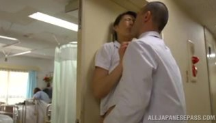 Hisae Yabe is a wild nurse fucking in public place.