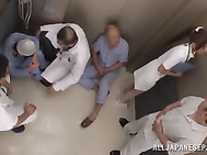 Frisky Asian nurse Airi Kijima gets multiple cumshots on her face.