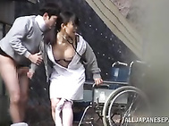 She starts with tough blowjob action, and reveals her big juicy tits to make the guy wild, and starts to ride his hard cock passionately.