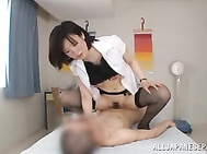She wears black stockings under her white uniform, and likes to get banged hard and deep for the cumshot!.