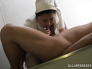 Check out steamy Asian porn scene with this hot amateur and watch her stroking his dick between her hands before engulfing it deep in her warm mouth.