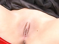 Hikaro Momose lovely Asian babe is tied and guys tease her shaved pussy.