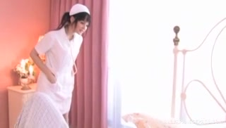 Hot Japanese teen Cecil Fujisaki is a horny nurse with shaved pussy.