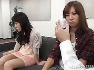 Pink pussy of nice teen Japanese babe visits sex workshop.
