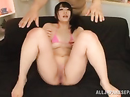Luscious Japanese AV model Nomiya Satomi seduces two horny dudes by playful stretching of her shaved muff and makes the guys extremely wild.