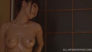 Busty Rei Aimi goes nasty in the shower with horny male.