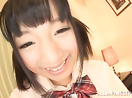 Pigtailed schoolgirl with tiny tits Hitomi Miyano enjoys pussy creampies.