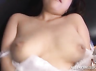 She gives the guy a cute cock sucking on pov, and then fondles it with her amazing big tits, and finally begins to bounce on his hard boner incredibly hard in pov Japanese porn.