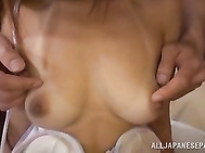 Curvaceous Asian stunner with big tits and shaved pussy enjoys hot bang.