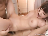 Staggering Japanese beauty with big tits and a tight pussy, Rei Aimi, is close to have a rough fuck with two hunks wanting to feel and enlarge her creamy holes during serious Japanese threesome session.