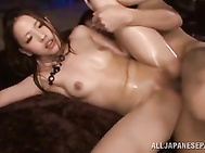 Her shaved pussy endures rear fuck as well as pussy licking and doggy-style ramming, which make her cum many times.