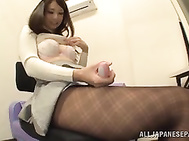 Adorable Japanese race queen in black pantyhose Yui Ooba.