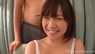 Steaming Asian sex doll Wakaba Onoue gets pleasure of titfuck.