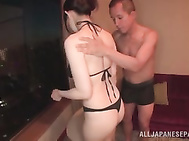 Busty babe Koyomi Yukihira in bikini and heels gets her tits toyed and fucked.