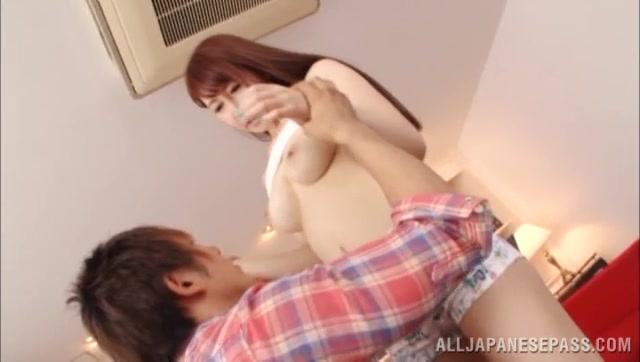 Redhead Japanese milf Azumi Kinoshita gets her nice ass groped and hairy pussy licked, and fingered before she kneels to suck cock and gets her tits fucked.