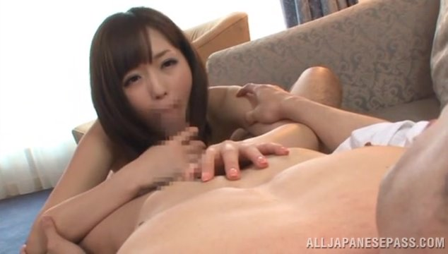 Sweet Japanese milf Yuu Asakura looks really sexy in her lovely dress.