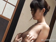 She arranges titfuck and stimulates his cock in skillful ways, and the amazed guy fucks the hottie hard from behind.