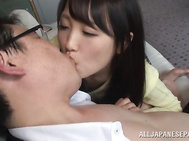 Kinky Japanese brunette teen has sex with one elegant guy and gets pleasure of playing with his dick.