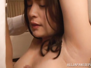 The horny guy plays with her big juicy tits and fucks her tits and then neat soaking pussy hard and she gets her pussy creamed.
