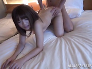 The cum-thirsty hottie takes his dick in her mouth, giving the guy a perfect blow job, and then gets fucked in a doggystyle position.