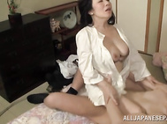 He squeezes her tits and fucks her head extremely hard, The hottie moans from passion, enjoying the hardcore action, and then enjoys rough fucking of her lustful hairy pussy.