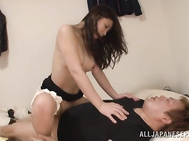 Her hairy pussy is fucked hard and creampied in fine Asian porn show.
